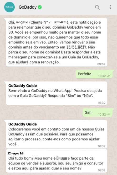 Exemplo da GoDaddy realizando o transbordo de chatbot de WhatsApp para o atendimento humano