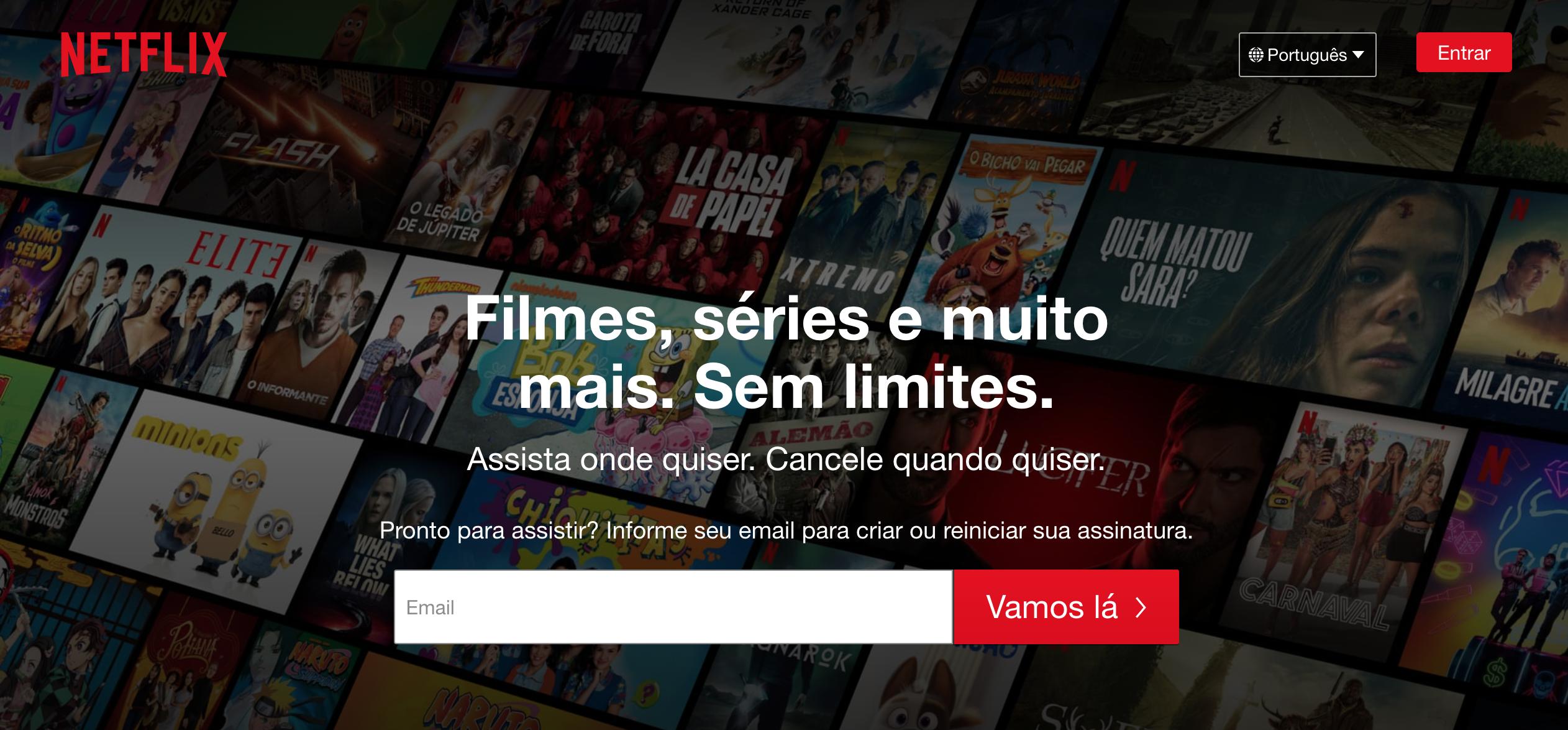 Página de entrada do site Netflix.