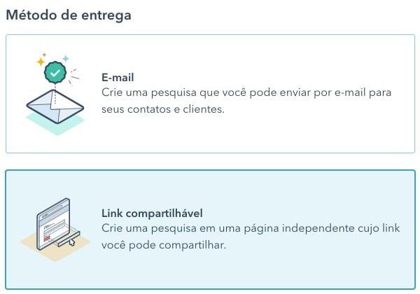 Configuração de pesquisa personalizada no HubSpot com link compartilhável