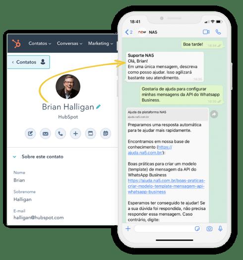Mensagem personalizada de WhatsApp enviada pelo HubSpot