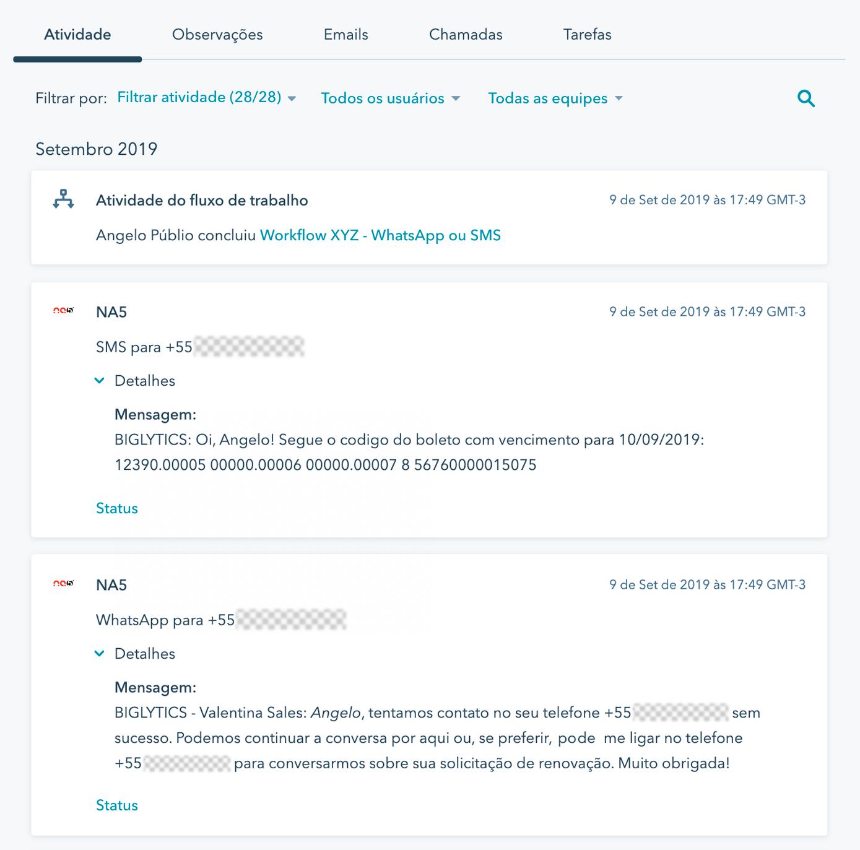 As mensagens de Whatsapp e SMS enviadas pelos fluxos de trabalho da HubSpot são automaticamente adicionadas à linha do tempo dos contatos.