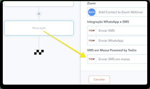 SMS em Massa nos Fluxos de Trabalho (workflows) da HubSpot
