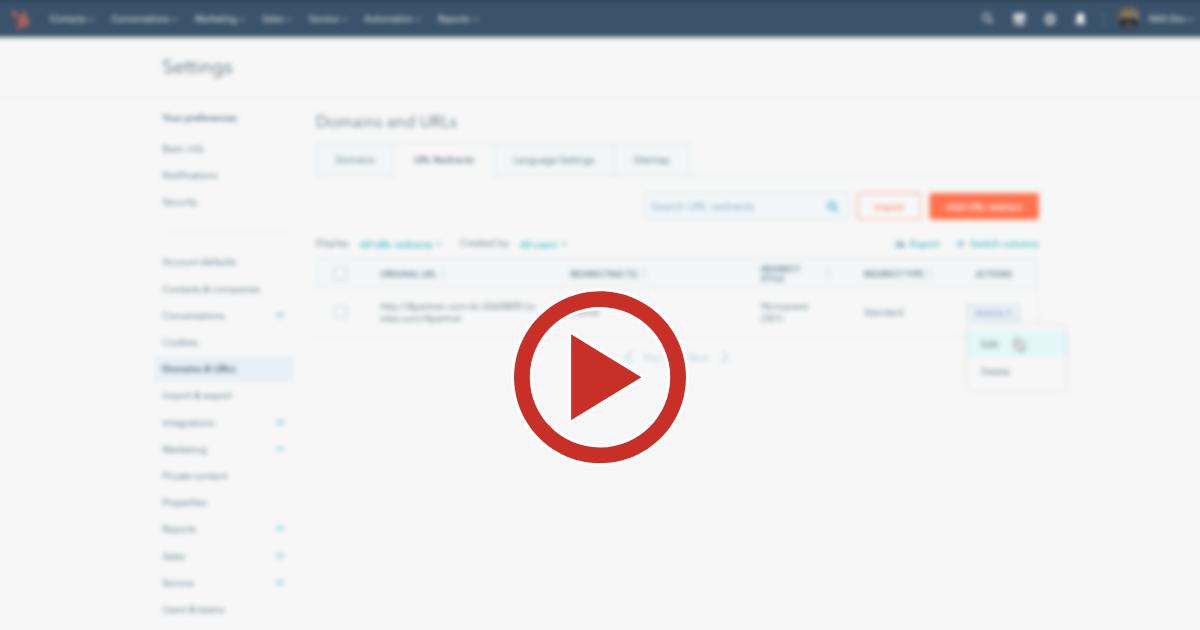 Como fazer o redirecionamento de links e importação na HubSpot